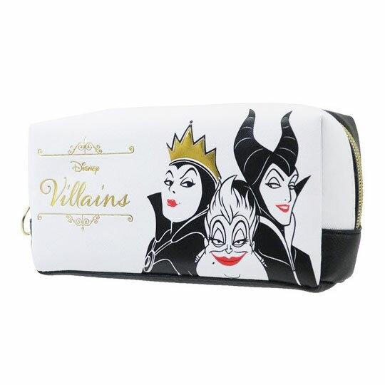 〔小禮堂〕迪士尼 壞皇后 皮質拉鍊筆袋《黑白.大臉》收納包.化妝包.鉛筆盒