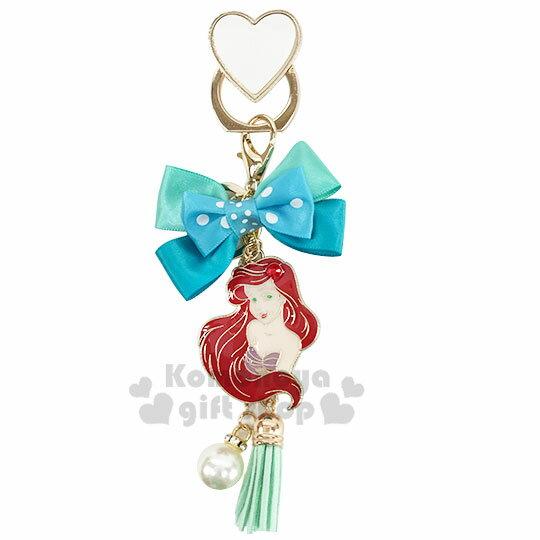 小禮堂 迪士尼 小美人魚 緞帶蝴蝶結造型金屬手機指環架《綠》立架.指環扣.吊飾 0