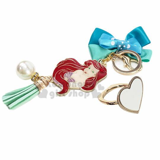 小禮堂 迪士尼 小美人魚 緞帶蝴蝶結造型金屬手機指環架《綠》立架.指環扣.吊飾 1