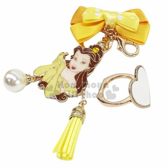 小禮堂 迪士尼 貝兒 緞帶蝴蝶結造型金屬手機指環架《黃》立架.指環扣.吊飾 1