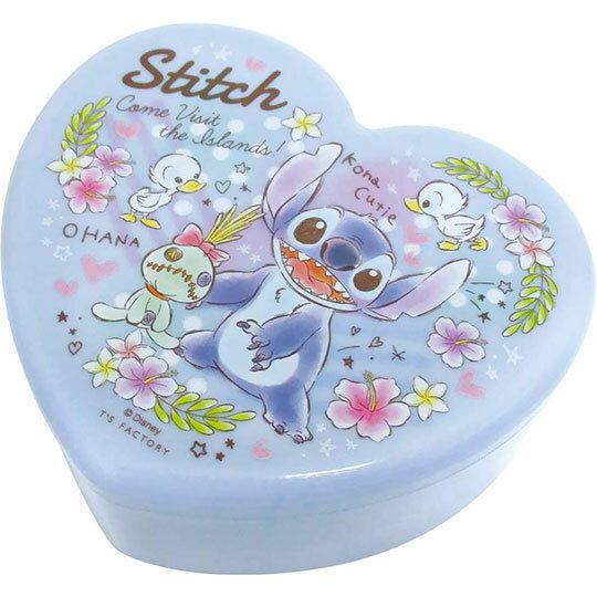 〔小禮堂〕迪士尼 史迪奇 愛心 塑膠掀蓋收納盒附鏡《藍.花朵》飾品盒.珠寶盒