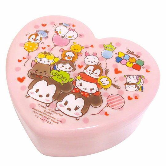 〔小禮堂〕迪士尼 TsumTsum 愛心 塑膠掀蓋收納盒附鏡《粉.汽球》飾品盒.珠寶盒