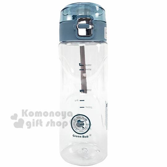〔小禮堂〕綠貝 透明彈蓋冷水瓶附腕繩《藍蓋》550ml.水瓶.隨身瓶 0