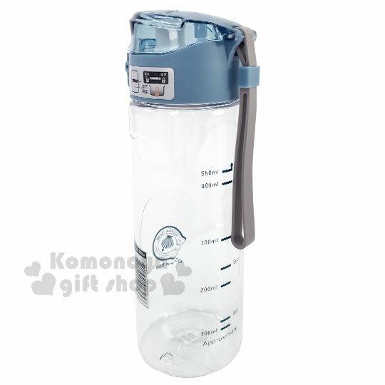 〔小禮堂〕綠貝 透明彈蓋冷水瓶附腕繩《藍蓋》550ml.水瓶.隨身瓶 1