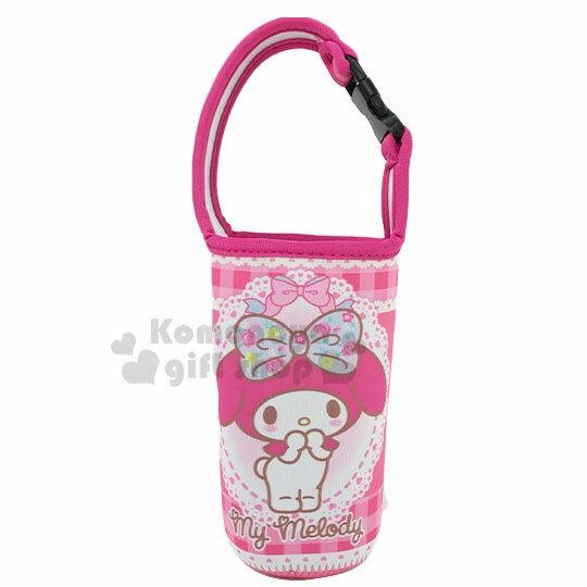 〔小禮堂〕美樂蒂 潛水布飲料杯套《粉.摸嘴》手搖杯套.環保杯袋.水壺袋