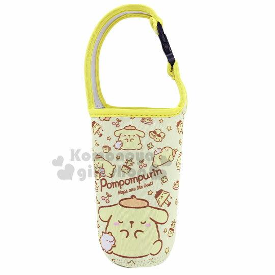 〔小禮堂〕布丁狗 潛水布飲料杯套《黃.睡覺》手搖杯套.環保杯袋.水壺袋