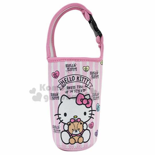 〔小禮堂〕Hello Kitty 潛水布飲料杯套《粉.直紋》手搖杯套.環保杯袋.水壺袋