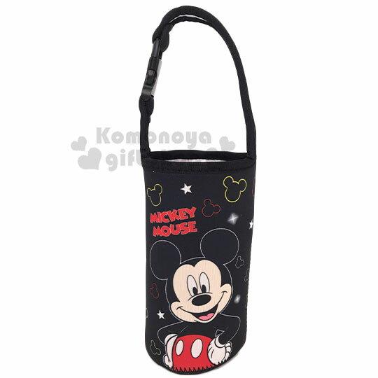 〔小禮堂〕迪士尼 米奇 潛水布水壺袋《黑.撐腰》飲料杯袋.手搖杯套.環保杯袋