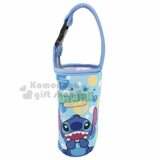〔小禮堂〕迪士尼 史迪奇 潛水布水壺袋《藍.開口笑》飲料杯袋.手搖杯套.環保杯袋