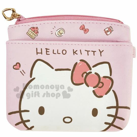 〔小禮堂〕Hello Kitty 皮質方形雙層拉鍊零錢包《粉白.大臉》化妝包.收納包