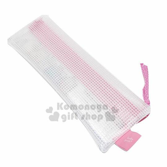 〔小禮堂〕角落生物 防水網狀拉鍊扁筆袋《粉白.貓裝》收納包.化妝包.鉛筆盒 1