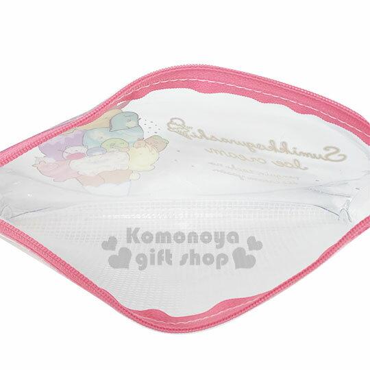 〔小禮堂〕角落生物 防水網狀扁平拉鍊筆袋《粉白.冰淇淋》收納包.化妝包.鉛筆盒 2