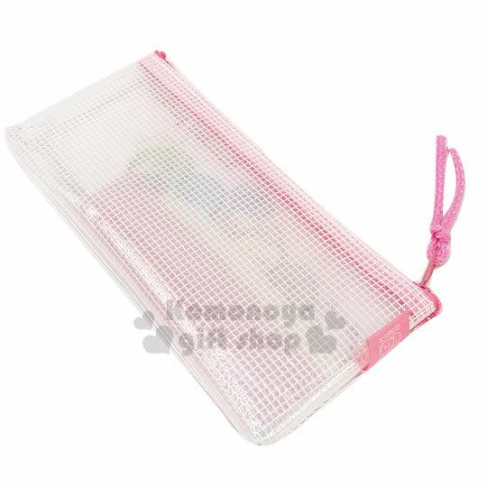 〔小禮堂〕角落生物 防水網狀扁平拉鍊筆袋《粉白.睡覺》收納包.化妝包.鉛筆盒 1