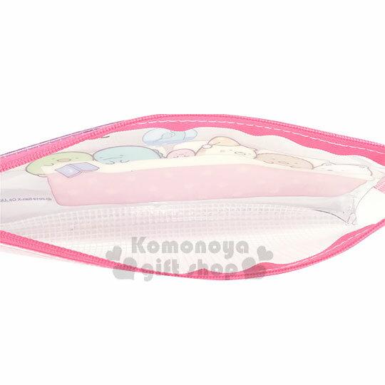 〔小禮堂〕角落生物 防水網狀扁平拉鍊筆袋《粉白.睡覺》收納包.化妝包.鉛筆盒 2