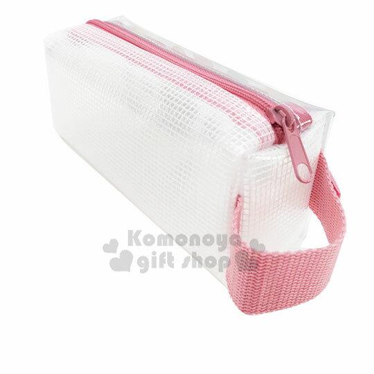 〔小禮堂〕角落生物 防水網狀拉鍊筆袋《粉白.冰淇淋》收納包.化妝包.鉛筆盒 1