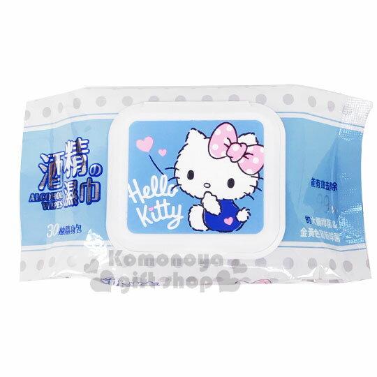 〔小禮堂〕Hello Kitty 30抽附蓋酒精濕紙巾包《藍白.摸嘴》柔濕巾.清潔用品 0