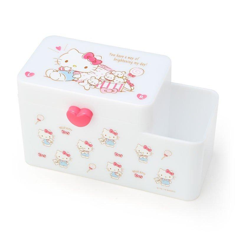小禮堂 Hello Kitty 塑膠掀蓋雙格筆筒收納盒《白.小熊》棉花盒.刷具筒