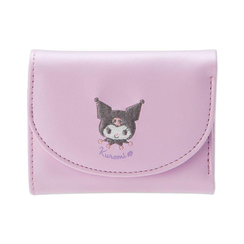 小禮堂 酷洛米 皮質刺繡扣式短夾《紫.大臉》皮夾.錢包.零錢包