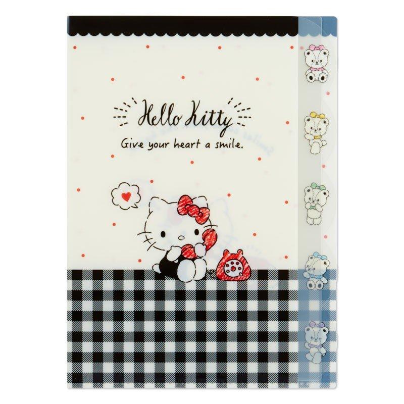 〔小禮堂〕Hello Kitty 日製L型分類文件夾《A4.黑白.格紋》資料夾.L夾.檔案夾