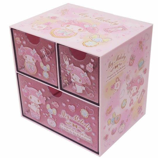 〔小禮堂〕美樂蒂 桌上型塑膠三抽收納盒《粉.下午茶》置物盒.抽屜盒.飾品盒