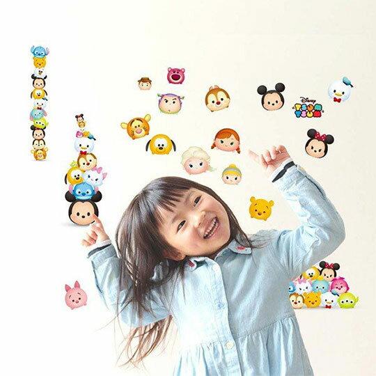 【領券折$30】小禮堂 迪士尼 TsumTsum 造型透明裝飾壁貼組《藍白.大臉》透明貼紙.裝飾貼