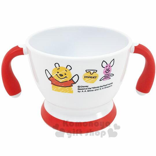 〔小禮堂〕迪士尼 小熊維尼 兒童雙耳塑膠學習碗《白紅.舉雙手》塑膠碗.兒童碗 0