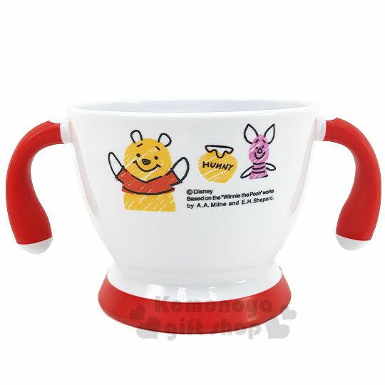 〔小禮堂〕迪士尼 小熊維尼 兒童雙耳塑膠學習碗《白紅.舉雙手》塑膠碗.兒童碗 1