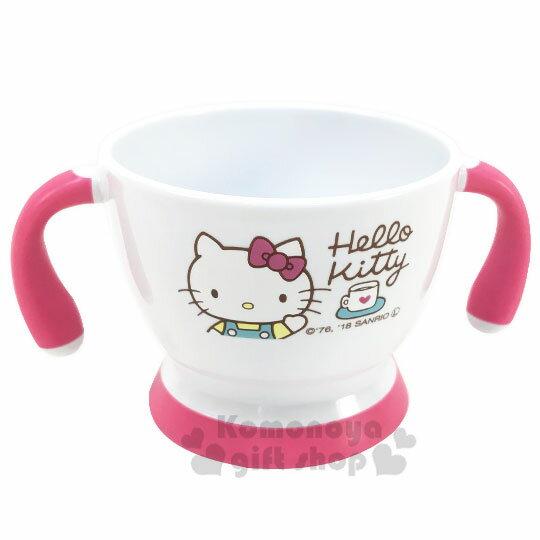 〔小禮堂〕Hello Kitty 兒童雙耳塑膠學習碗《白粉.招手》塑膠碗.兒童碗 0