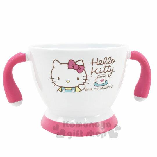 〔小禮堂〕Hello Kitty 兒童雙耳塑膠學習碗《白粉.招手》塑膠碗.兒童碗 1