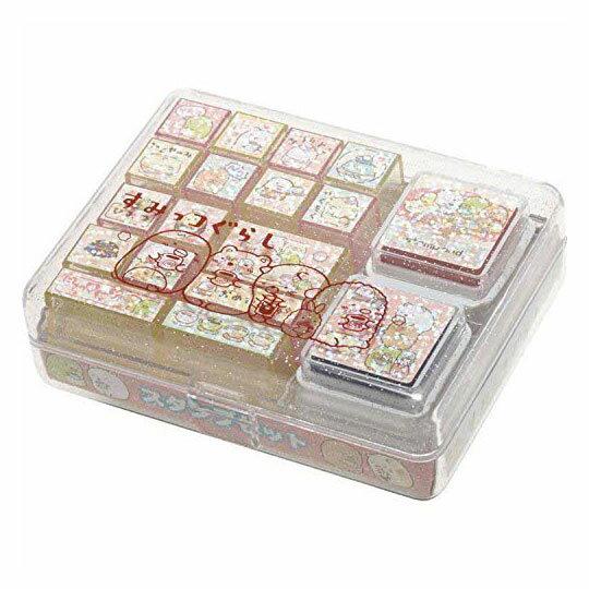 〔小禮堂〕角落生物 盒裝橡皮印章組《粉.格紋》印泥.玩具章.橡皮章 0