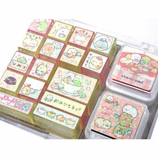 〔小禮堂〕角落生物 盒裝橡皮印章組《粉.格紋》印泥.玩具章.橡皮章 2