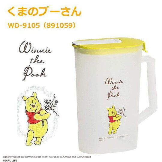 〔小禮堂〕迪士尼 小熊維尼 日製霧面塑膠單耳掀蓋冷水壺《黃蓋.親親》2L.茶壺 3