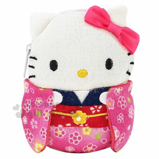小禮堂 Hello Kitty 迷你全身造型和風絲質零錢包《粉白.和服》收納包.耳機包