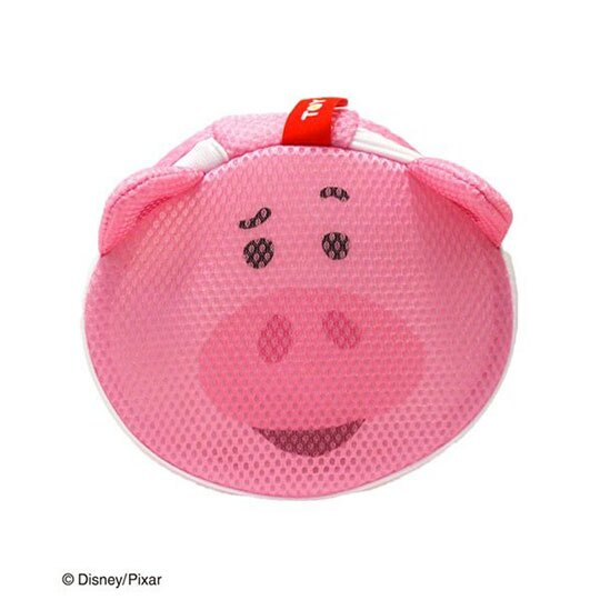 〔小禮堂〕玩具總動員 培根豬 大臉造型圓筒洗衣袋《粉》洗衣網袋 2
