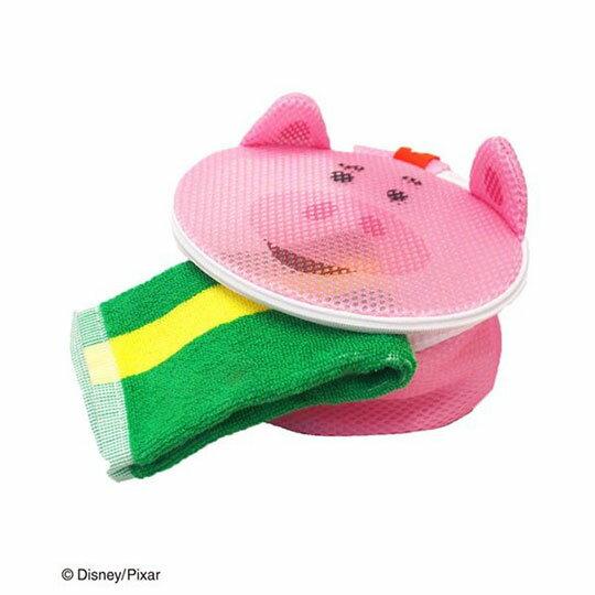 〔小禮堂〕玩具總動員 培根豬 大臉造型圓筒洗衣袋《粉》洗衣網袋 4