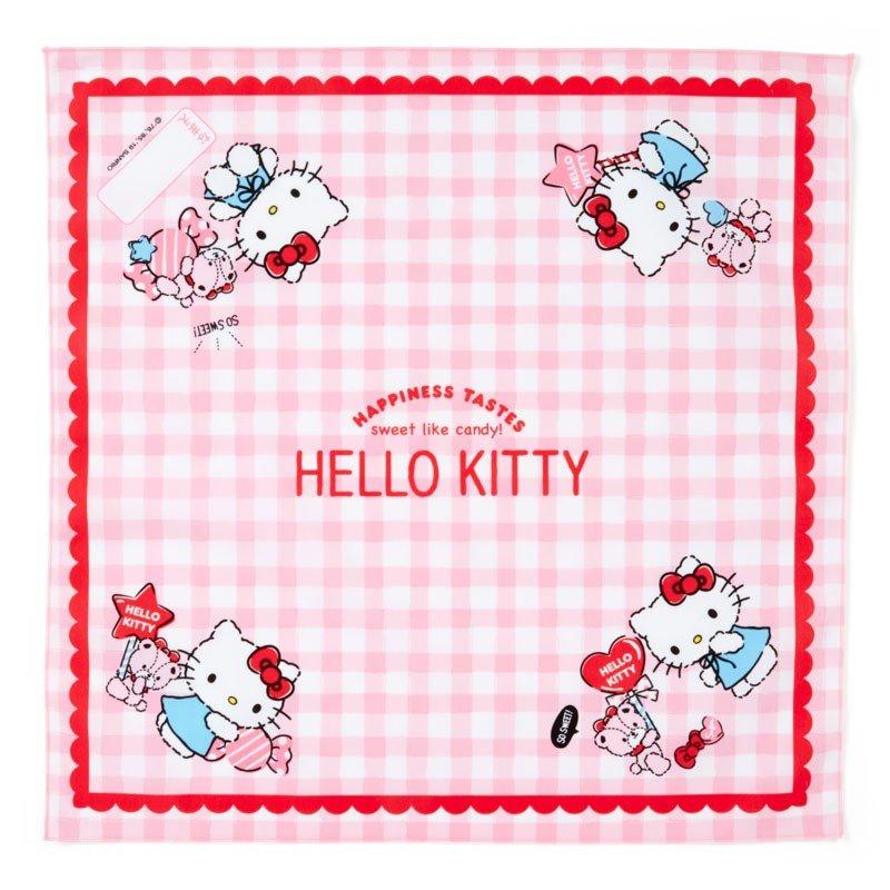 〔小禮堂〕Hello Kitty 日製棉質便當包巾《粉白.格紋》43x43cm.手帕.餐巾.桌巾 0
