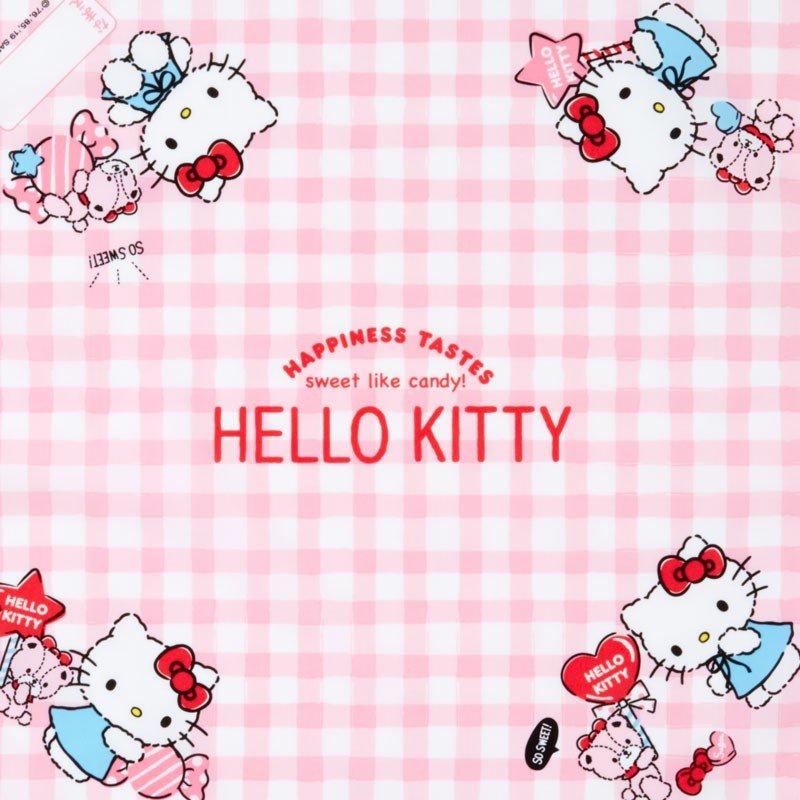 〔小禮堂〕Hello Kitty 日製棉質便當包巾《粉白.格紋》43x43cm.手帕.餐巾.桌巾 1