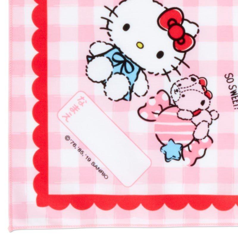 〔小禮堂〕Hello Kitty 日製棉質便當包巾《粉白.格紋》43x43cm.手帕.餐巾.桌巾 2