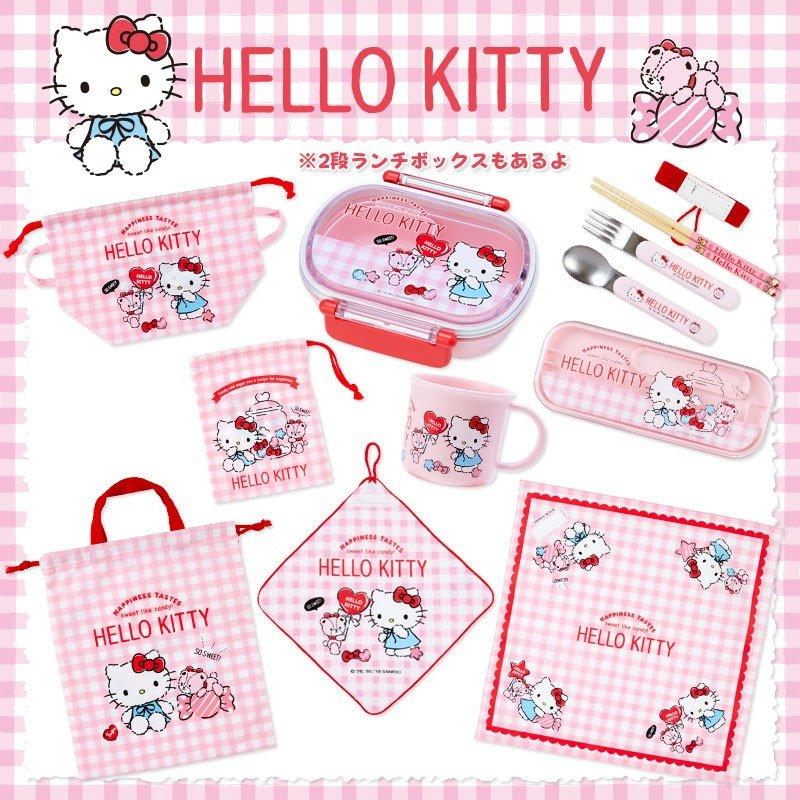 〔小禮堂〕Hello Kitty 日製棉質便當包巾《粉白.格紋》43x43cm.手帕.餐巾.桌巾 3