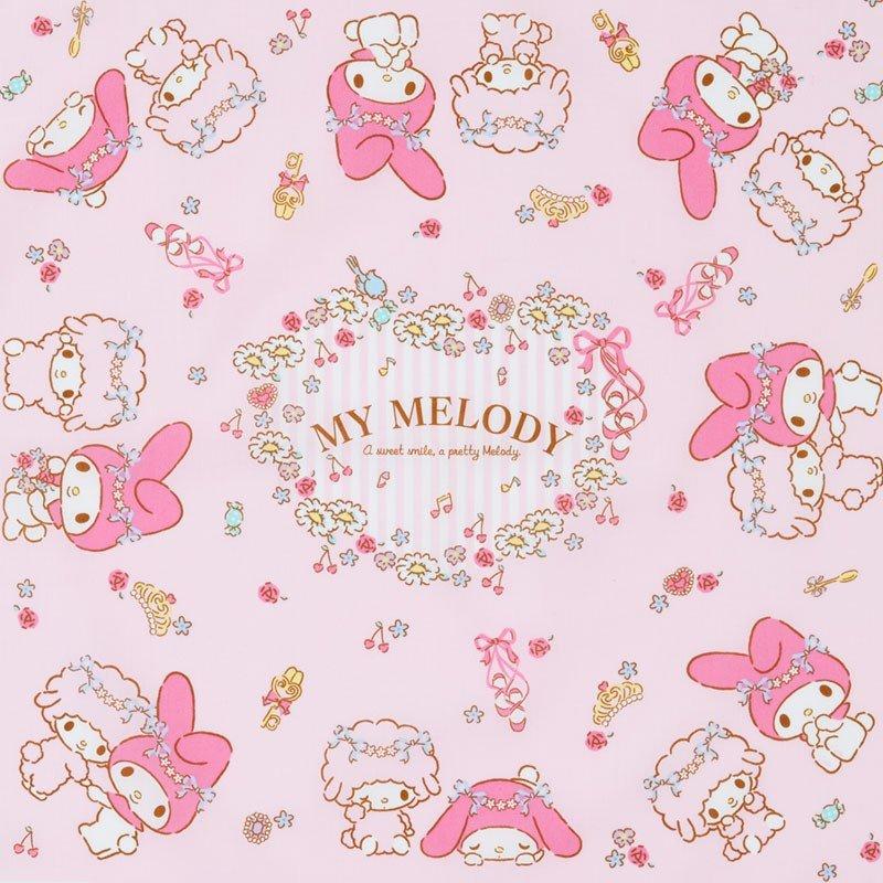 〔小禮堂〕美樂蒂 日製棉質便當包巾《粉.花圈》43x43cm.手帕.餐巾.桌巾 1