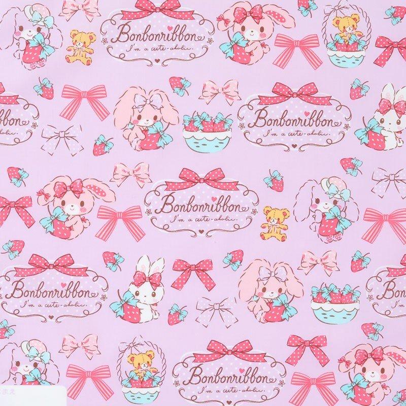〔小禮堂〕蹦蹦兔 日製棉質便當包巾《粉紫.草莓》43x43cm.手帕.餐巾.桌巾 1
