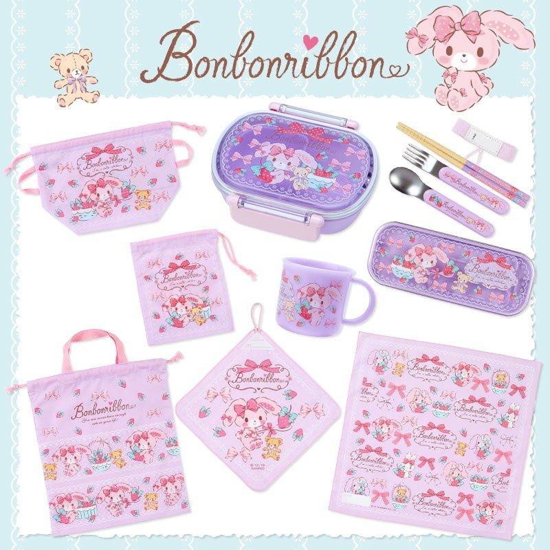 〔小禮堂〕蹦蹦兔 日製棉質便當包巾《粉紫.草莓》43x43cm.手帕.餐巾.桌巾 3