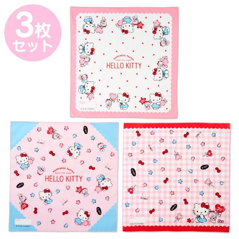 〔小禮堂〕Hello Kitty 日製棉質便當包巾組《3入.粉白.格紋》43x43cm.手帕.餐巾.桌巾 0