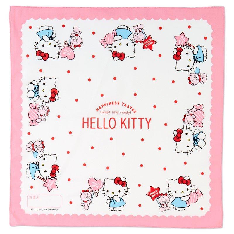 〔小禮堂〕Hello Kitty 日製棉質便當包巾組《3入.粉白.格紋》43x43cm.手帕.餐巾.桌巾 1