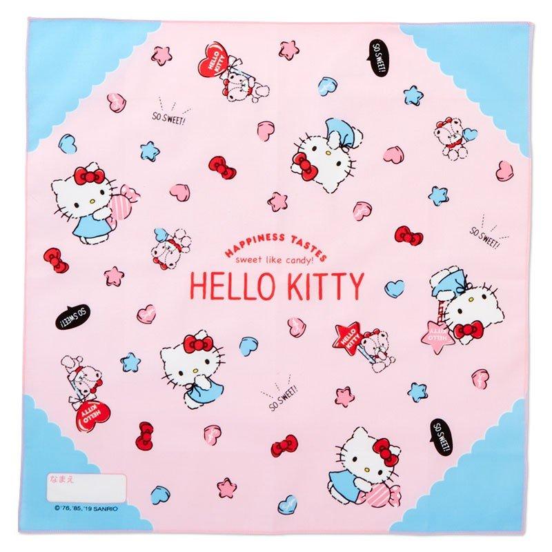〔小禮堂〕Hello Kitty 日製棉質便當包巾組《3入.粉白.格紋》43x43cm.手帕.餐巾.桌巾 2