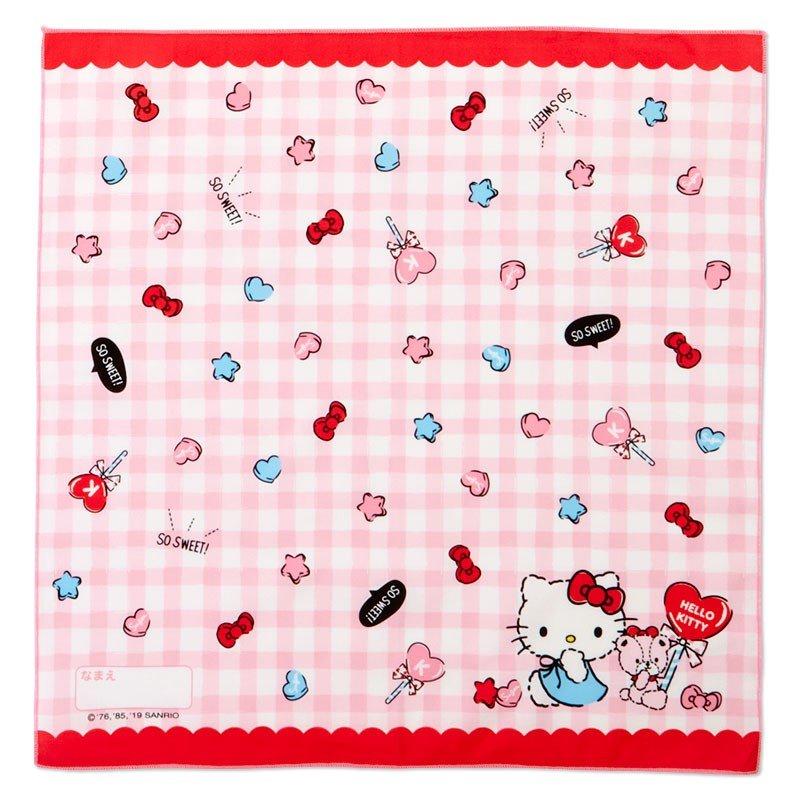 〔小禮堂〕Hello Kitty 日製棉質便當包巾組《3入.粉白.格紋》43x43cm.手帕.餐巾.桌巾 3