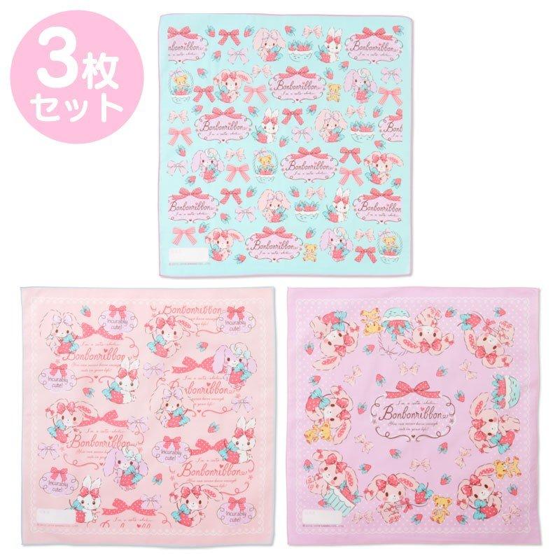 〔小禮堂〕蹦蹦兔 日製棉質便當包巾組《3入.粉綠.草莓》43x43cm.手帕.餐巾.桌巾 0