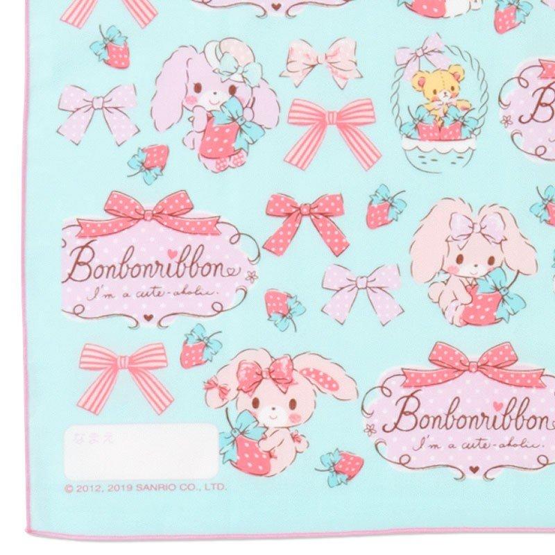 〔小禮堂〕蹦蹦兔 日製棉質便當包巾組《3入.粉綠.草莓》43x43cm.手帕.餐巾.桌巾 4