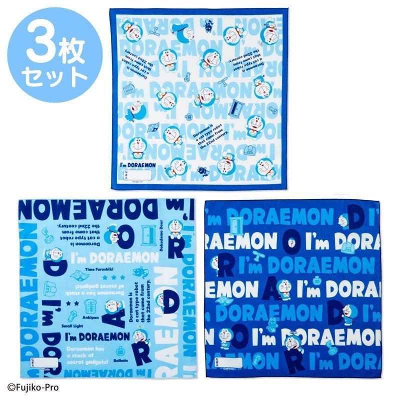 〔小禮堂〕哆啦A夢 日製棉質便當包巾組《3入.深藍.文字》43x43cm.手帕.餐巾.桌巾 0