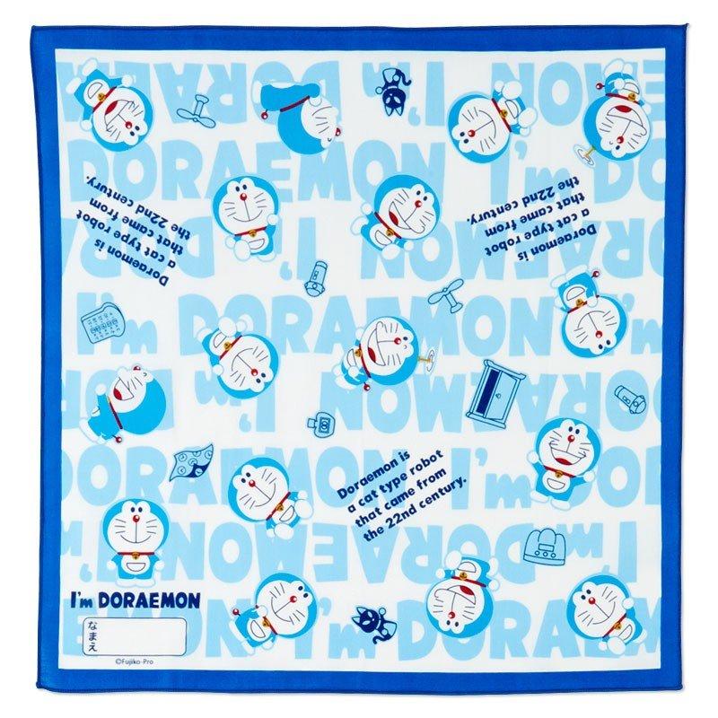 〔小禮堂〕哆啦A夢 日製棉質便當包巾組《3入.深藍.文字》43x43cm.手帕.餐巾.桌巾 1